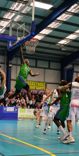 Jerelle gets air against Plymouth Raiders